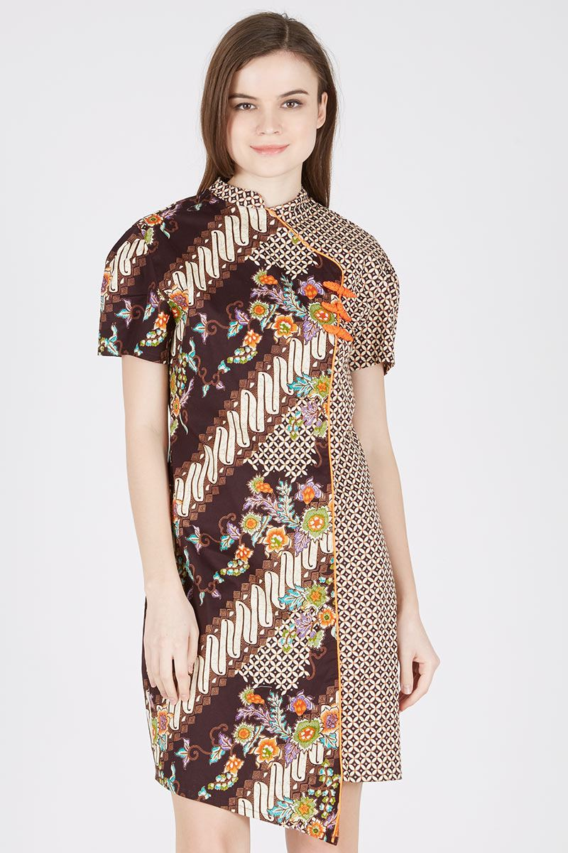 Sell Dress Batik Ss Changi In Orange Choco Batik Print Berrybenka Com